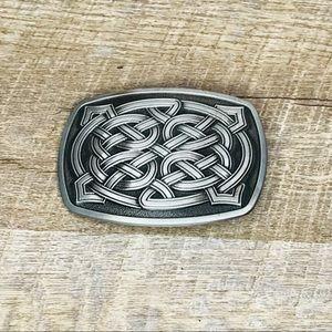 Celtic style belt buckle rectangular silver toned